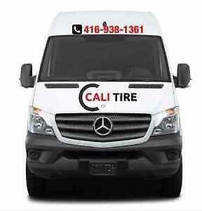 MOBILE TIRE SERVICE  CALI TIRE WE COME TO YOU HOME OFFICE OR WORKPLACE  MOUNT AND DISMOUNT ON SITE  416 938 1361