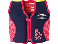 Original Konfidence Children's Swim Jacket, 4-5 Years, Colour: Navy Hibiscus
