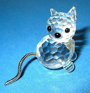 Swarovski Vintage Silver Crystal Cat (Articulated Silver Tail)