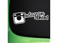Instagram this sticker. White. Large. Vinyl. Insta