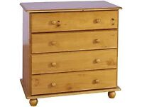 Pine Bedside cabinets x 3, pine wardrobe x 3 and pine chest of drawers