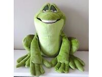 THE DISNEY STORE PRINCESS AND THE FROG PRINCE NAVEEN SOFT TOY FROG
