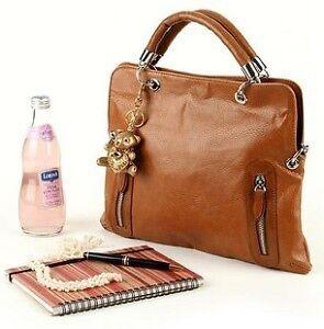 Hot-Sale-New-Womans-PU-Leather-Shoulder-Purse-Handbags-Brown-Color