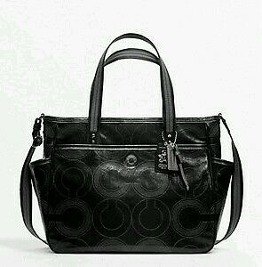 coach gray patent leather handbag  coach op art