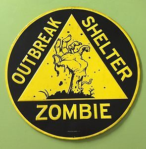 New- 12 Inch Diameter- Zombie Outbreak Shelter Tin Wall Sign Sarnia Sarnia Area image 1