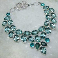 925 STERLING SILVER OVERLAY NECKLACE GREEN AMETHYST & BLUE TOPAZ