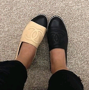 CC chanel leather espadrilles Size 7 loafers flats