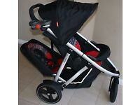 Phil and Teds Vibe Double Tandem Pushchair Buggy with Rain Cover in Rare Graffiti Red