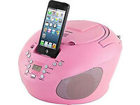 ***NEW***Bush CBB3i Portable CD Player with iPod Speaker Dock 30pin Aux / FM Radio BOOMBOX- Pink