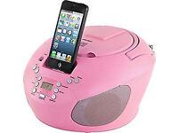 ***NEW***Bush CBB3i Portable CD Player with iPod Speaker Dock 30pin Aux / FM Radio BOOMBOX- Pink