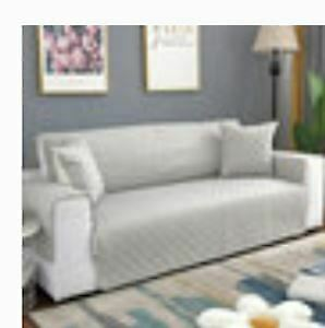 Two Brand New Water Repellant Sofa Protector Covers- Light Grey