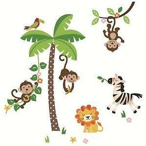 monkey wall decals ebay. Black Bedroom Furniture Sets. Home Design Ideas
