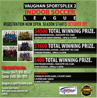 Adult soccer leagues rec, premier and over 35! cash money!!