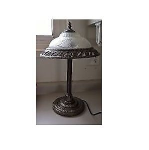 Vintage Table Lamp with Frosted Glass Shade with Metal Around it