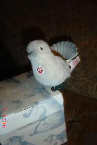 Steiff Ornament Mohair White Dove Bird  MIB RETIRED
