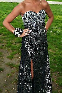 Prom Dress Beautiful Full Length Silver and Black Sequin