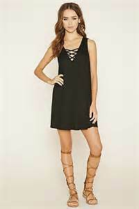 Forever 21 Criss Cross A-Line Dress sz Small