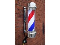 Sign Light Barber Pole LED Pole Salon Sign Light Red White 80cm Large For Barber shops And Salon