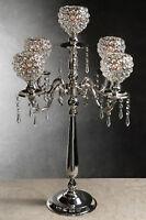 "30"" Silver Wedding Crystal globe candelabra Centerpiece"