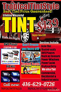 TINTING SERVICE $139 ANY CAR BEST TINT PRICE GUARANTEED! NOW