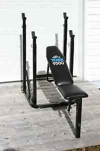 Very sturdy pressing/squat bench + weights + DB handles + bar.