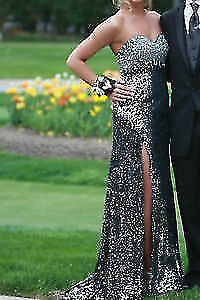 BLACK AND SILVER SEQUENCE PROM DRESS