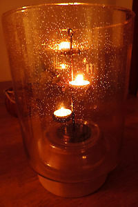 Partylite Glass & Wood Hurricane Candle Lamp Stand wt Candles