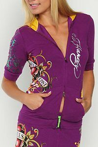 Ed Hardy Stretch Hoodie with Tiger
