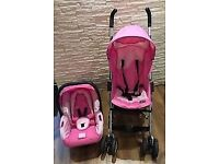 * Century Pink Stroller with Matching Car Seat / Carry bag *