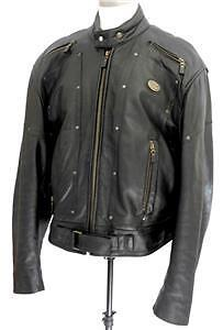 BRISTOL Leather Motorcycle  Riding Jacket w Removable Liner S,46