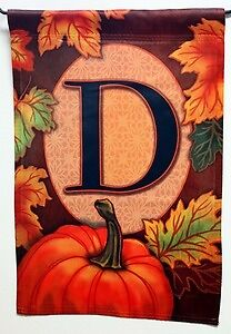 Fall Pumpkin Monogram D Autumn Decorative Garden Flag