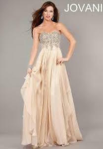Jovani 1560 Nude Beaded Dress (Size 6)