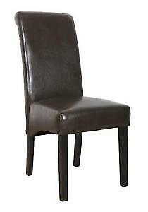 Dining Chair - Black Faux Leather - set of 2 - $55(north vancou