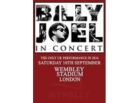 2 Billy Joel Tickets - Wembley- Saturday 10th September - close to stage - great seats