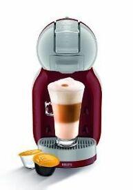 Red and grey coffee pod machine