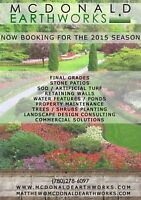 LANDSCAPING, FINAL GRADES, SOD, ARTIFICIAL TURF, RETAINING WALLS