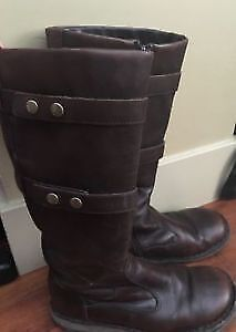 Two pairs of brown leather boots- $10 takes both