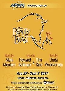 2 x beauty and the beast tickets 26th august Willetton Canning Area Preview