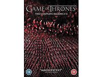 Game of Thrones 1-4 DVD Box Set. Watched once. VGC. Bought on Amazon - original receipt available.