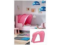 Ikea pink childrens single bed canopy/tent