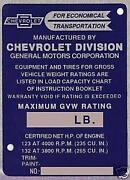 Chevy ID Plate