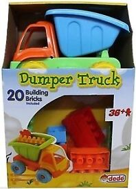 Brand new, Boxed. DUMPER TRUCK SET with 20 building blocks. Many available, Can be delivered