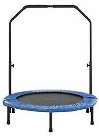 Rebounder / mini trampoline with handrail