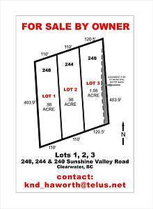 Sunshine Valley Lots for Sale, Clearwater, BC