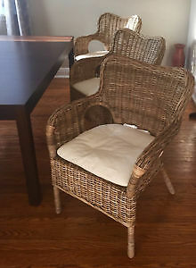 4* Ikea Rattan Bylhoma Handmade armchairs+cushions (retail $600)