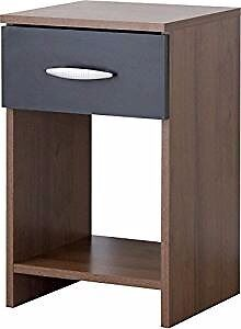 Walnut/Black Assembled Bedside Ex-Display