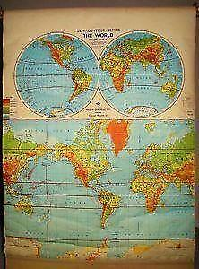Pull down map ebay vintage pull down world maps gumiabroncs Images