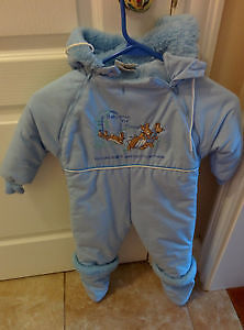 Blue one piece snowsuit