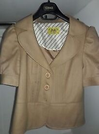 Juicy Couture UK8 (USA 4) cropped spring summer beige gold jacket, wool cashmere blend, nearly new