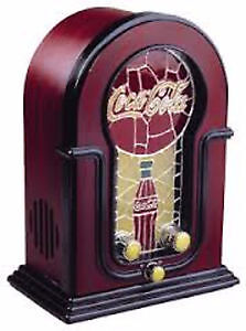 """Collectible """"COCA-COLA STAINED GLASS LOOK AM/FM RADIO"""""""